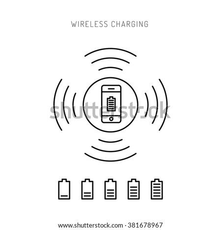 Wireless charging phones. Wireless charging phones outline. Wireless battery charge. Outline icon pone. Outline Wireless charging concept. - stock vector