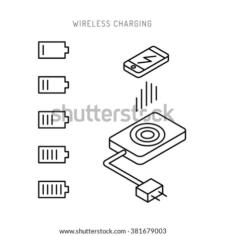 Wireless charging phones. Wireless charging phones outline. Wireless battery charge. Outline icon. Outline icon phone. - stock vector