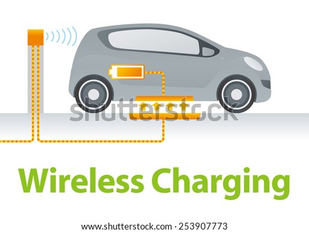 Wireless Charging System for Electric Vehicle Illustration - stock vector