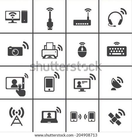 Wireless & Communication icon - stock vector