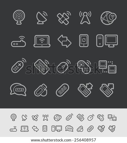 Wireless Communications Icons // Black Line Series -- EPS 10+ Contain Transparencies - stock vector
