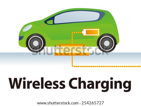 Wireless (Contactless) Charging System for Electric Vehicle Illustration - stock vector