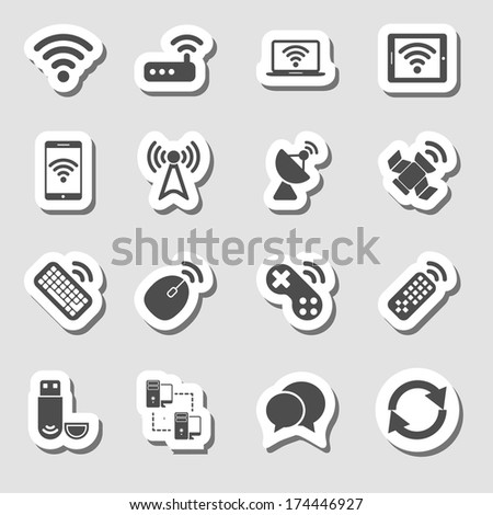 Wireless Devices Icons Set as Labes - stock vector