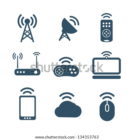 Wireless equipment icons collection isolated on white - stock vector