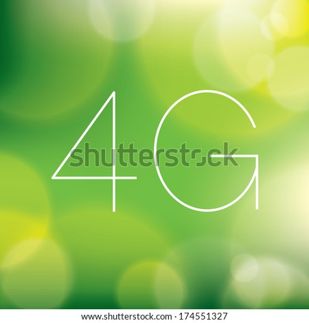 Wireless 4G LTE icon on blurry green background - stock vector