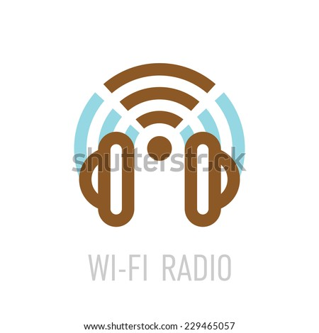 Wireless internet radio logo template with headphones and wi-fi sign. - stock vector