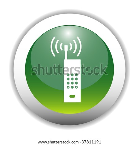 Wireless Phone Sign Button - stock vector