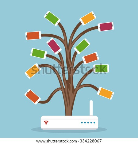 Wireless router and smart phones network. Concept of wireless connection and social communication. Wireless network and mobile devices. Abstract tree connection. - stock vector