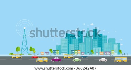 wireless signal of internet in business city. internet connection.social on line business  - stock vector