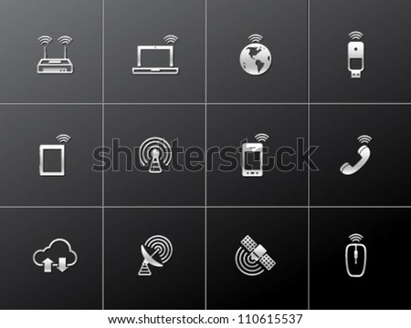 Wireless technology icon series in metallic style - stock vector