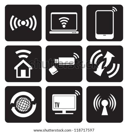 Wireless technology web icons set - stock vector