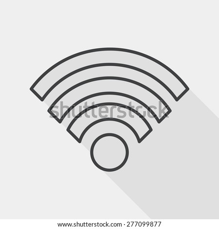 Wireless wifi flat icon with long shadow, line icon - stock vector