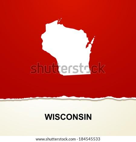 Wisconsin map vector background - stock vector