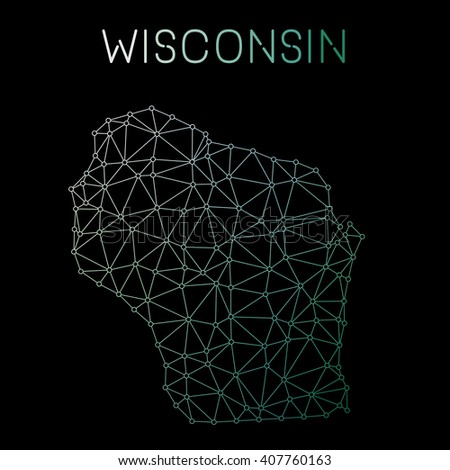 Wisconsin network map. Abstract polygonal US state map design. Network connections vector illustration. - stock vector