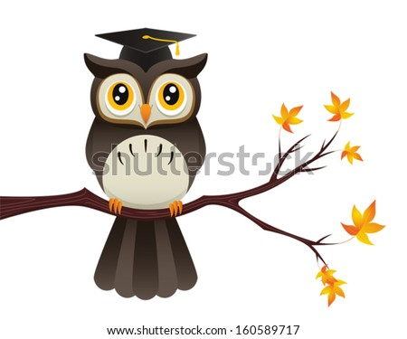 Wise old owl cartoon concept illustration. Eps 8 Vector. - stock vector