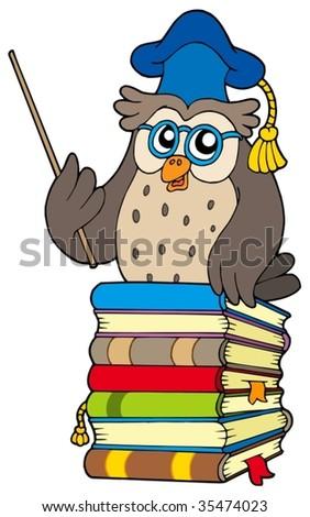 Wise owl teacher on books - vector illustration. - stock vector