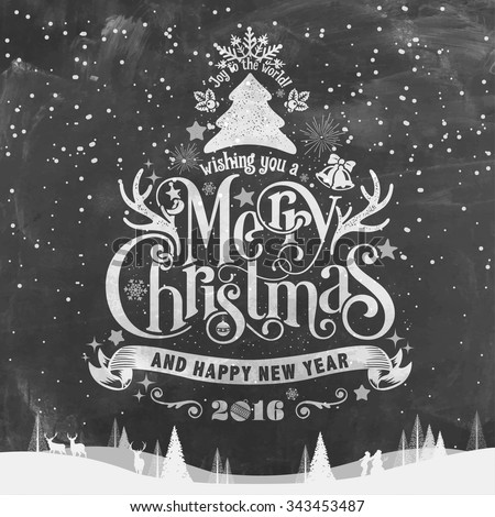 Wishing You A Merry Christmas And Happy New Year Typographical Background On Chalkboard - stock vector