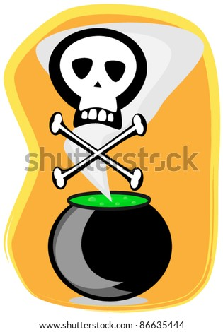 witch cauldron.poison - stock vector