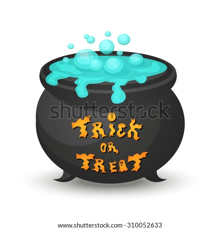 Witch cauldron with blue potion. Trick or treat typography. Typography design on cauldron. Halloween cauldron.EPS10 vector. - stock vector