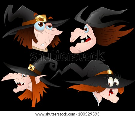 Witch Faces Vector - stock vector