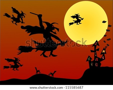 Witch flying on Halloween/Halloween night - stock vector