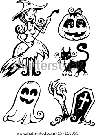witch ghost cat grave vector helloween set - stock vector