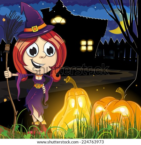 Witch girl and Jack o lanterns near the house with glowing windows. Halloween night scene  - stock vector