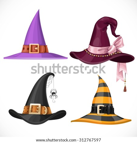 Witch hats with straps and buckles set isolated on white background - stock vector