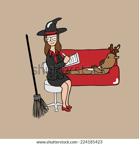Witch psychiatrist reindeer cartoon vector - stock vector