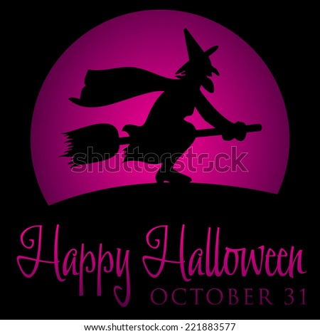 Witch rising moon Halloween card in vector format. - stock vector