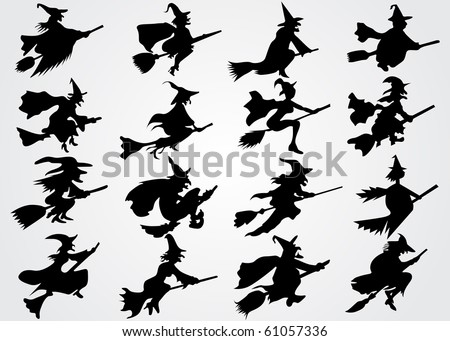 Witch's silhouette - stock vector