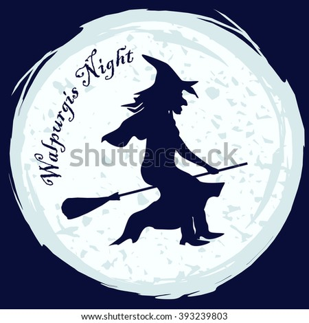 Witch silhouette in witch hat flying on a broom on moon background. Vector illustration for halloween card, walpurgis night decoration, fancy-dress party invitation - stock vector