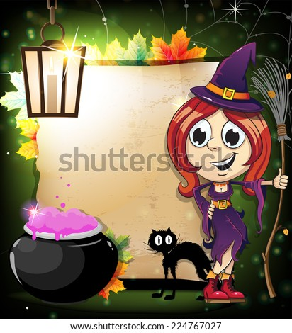 Witch with a broom, a black cat and a cauldron with potion on the background of old paper scroll. Abstract halloween background - stock vector