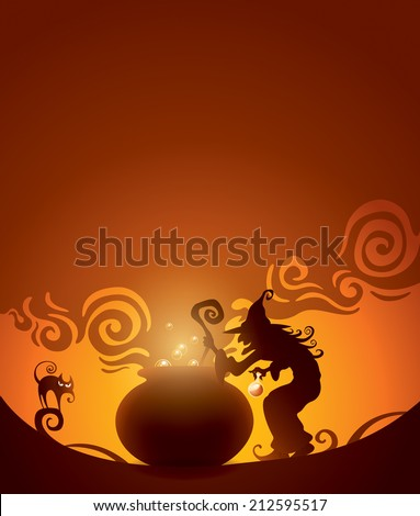 Witches brew. Wide empty space for design in the illustration. - stock vector
