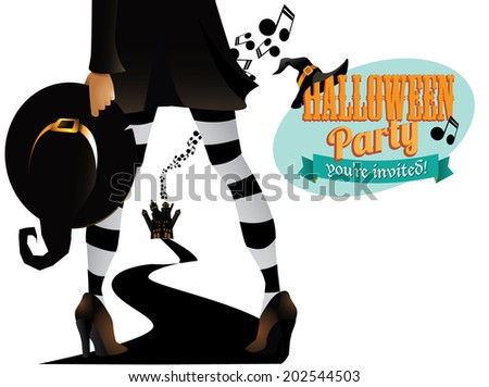 Witchy Halloween Party design. EPS 10 vector, grouped for easy editing. No open shapes or paths. - stock vector
