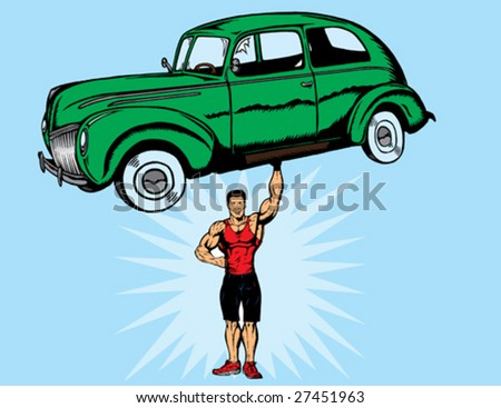 With vector,  car, guy and shoes are separate.  Shadow on hand can be removed.  Hand is fully drawn, so dude can be picking up anything. shoes can be removed and feet are fully drawn. - stock vector