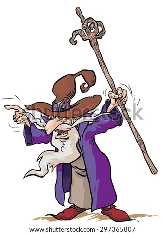 Wizard cartoon character. - stock vector