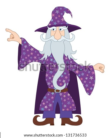 Wizard, cartoon character, in violet starred costume standing and pointing his finger at something. Vector - stock vector