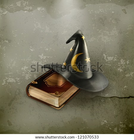Wizard hat and old book, old-style vector - stock vector