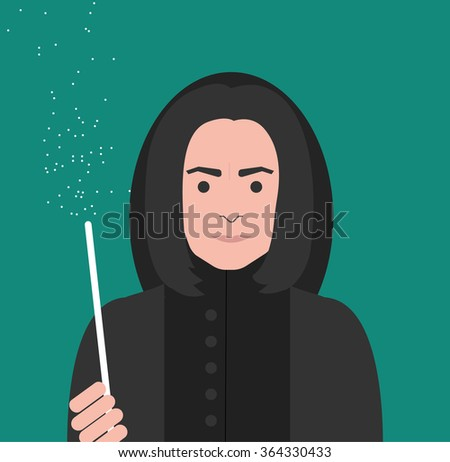Wizard in black clothes with magic wand. Fantasy and fairy tale - stock vector