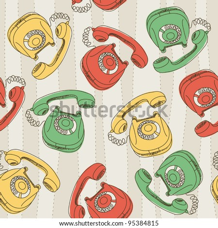 Wllpaper with retro phnes - stock vector