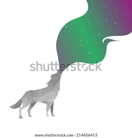 Wolf abstract isolated on a white backgrounds - stock vector