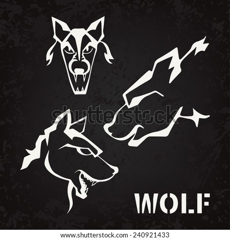 wolf, Aged texture (graphics, tattoo) - stock vector