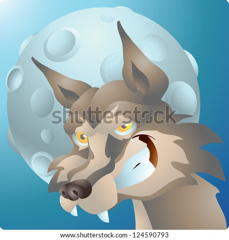 wolf and the moon - stock vector