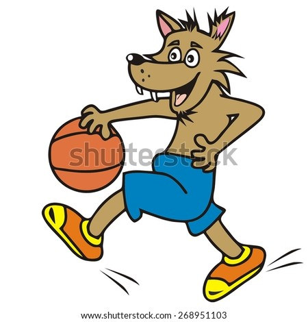 wolf, basketball - stock vector