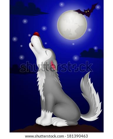 Wolf cartoon howling - stock vector