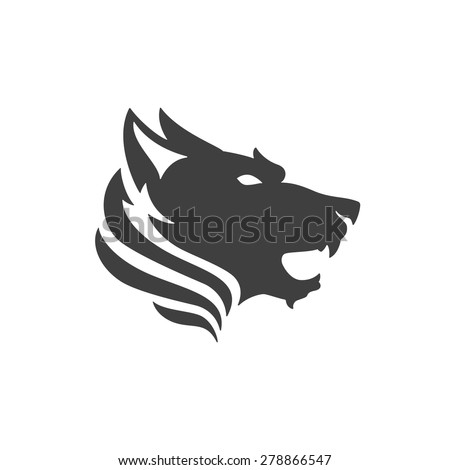 Wolf face logo emblem template mascot symbol for business or shirt design. Vector Vintage Design Element. - stock vector