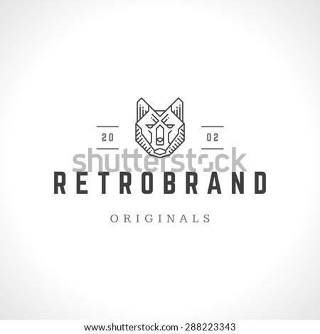 Wolf face logo line art emblem template mascot symbol for business or shirt design. Vector Vintage Design Element. - stock vector