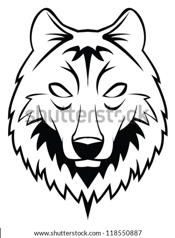 wolf head - stock vector