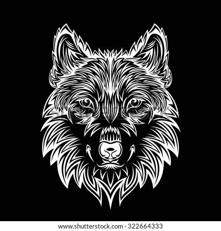 wolf head - stock vector